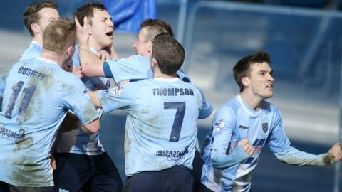What a moment for Eoin Kane - he celebrates scoring Ballymena's third goal and United go on to clinch a 3-2 victory