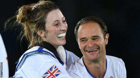 Jade Jones and Paul Green celebrate after the former won gold at Rio 2016