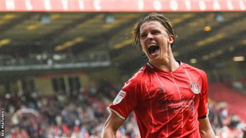 Conor Gallagher celebrates scoring a goal for Charlton at The Valley