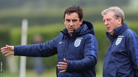 England manager Roy Hodgson (right) and his assistant Gary Neville