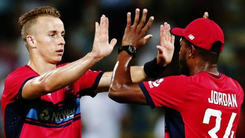 England bowlers Tom Curran and Chris Jordan celebrate T20 victory over New Zealand