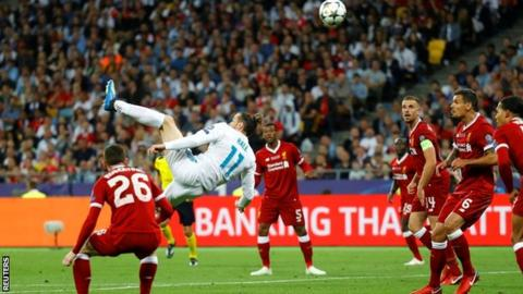 Gareth Bale scores the first of two goals in Real Madrid's 3-1 win over Liverpool in last season's Champions League final