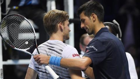 Goffin played Djokovic after Gael Monfils withdrew with a rib injury