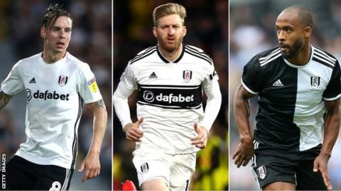 (left to right) Stefan Johansen and defenders Tim Ream and Denis Odoi in action for Fulham