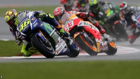 Valentino Rossi leading the British MotoGP at Silverstone