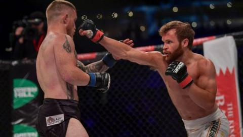 Andy Young in action against Brian Creighton at Brave 13 in Belfast on 9 June