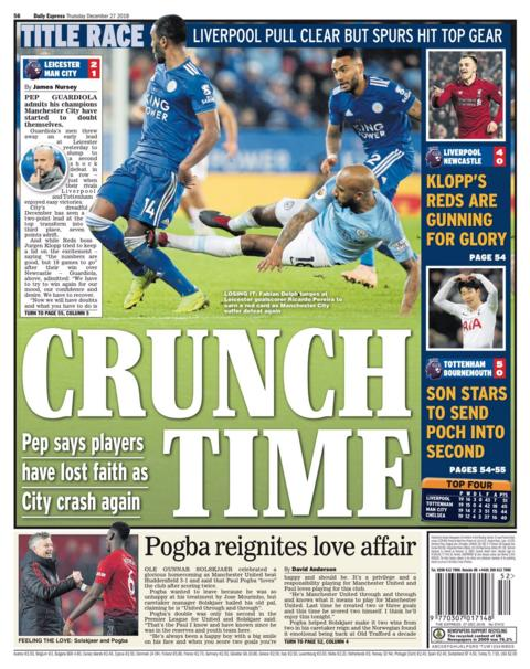 The Daily Express back page