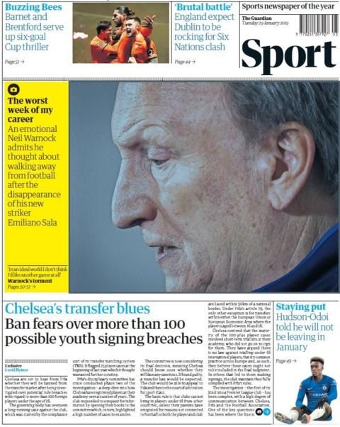 Guardian back page on Tuesday