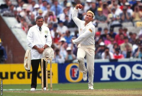 Shane Warne with umpire Dickie Bird, during England v Australia; 1st Ashes Test at Old Trafford in June 1993