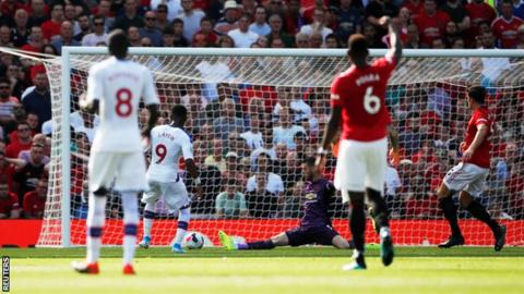 Jordan Ayew scores Crystal Palace's winner against Manchester United
