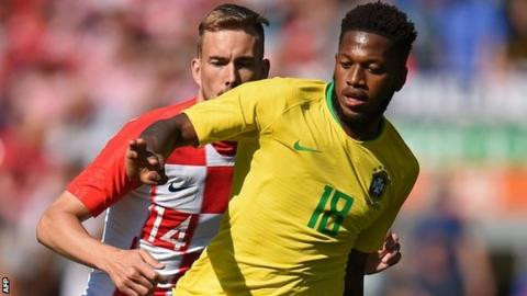 Fred in action for Brazil
