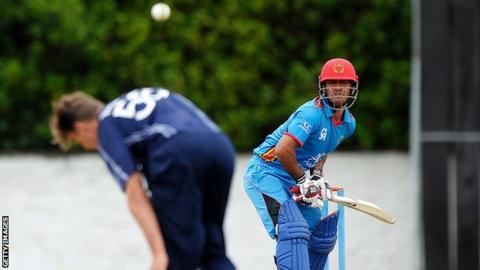Najibullah Zadran bats against Scotland