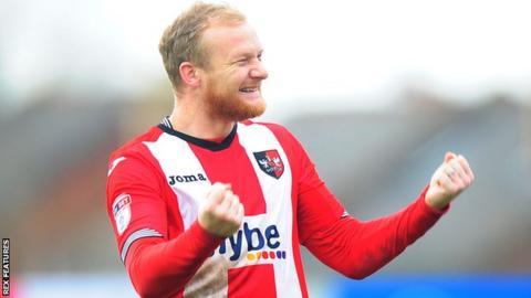 Robbie Simpson celebrates scoring a goal