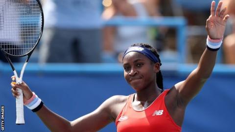 Coco Gauff celebrates reaching the Washington Open main draw