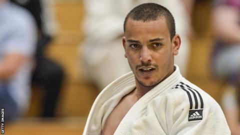 Elliot Stewart competing at the 2017 IBSA Judo European Championships