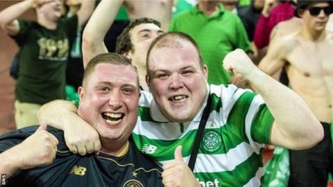 Celtic fans celebrated in the Israeli heat