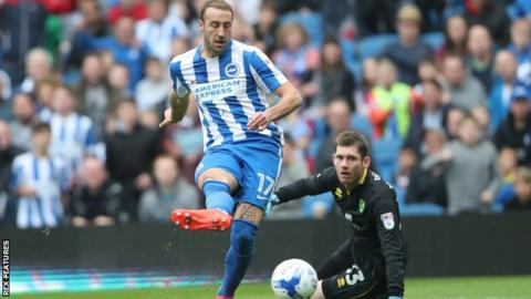 Glenn Murray scores the opening goal for Brighton against Norwich