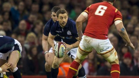 Greig Laidlaw in action for Scotland against Wales in February 2016
