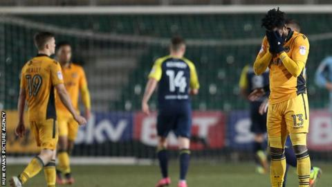 Newport's Marlon Jackson reacts following the defeat by Stevenage
