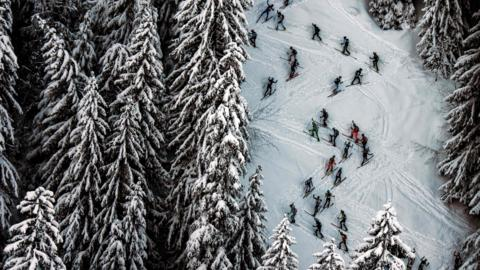 Skiers compete during the first stage of the 33rd edition of the Pierra Menta ski mountaineering competition.