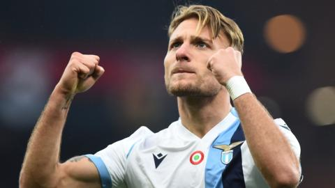 Ciro Immobile celebrates Lazio's win at Genoa