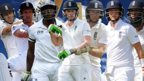 Jonathan Trott, Nick Compton, Michael Carberry, Sam Robson, Adam Lyth, Joe Root and Moeen Ali