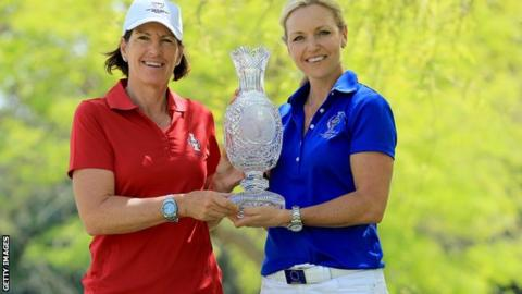 Solheim Cup captains Juli Inkster of America and Carin Koch of Europe