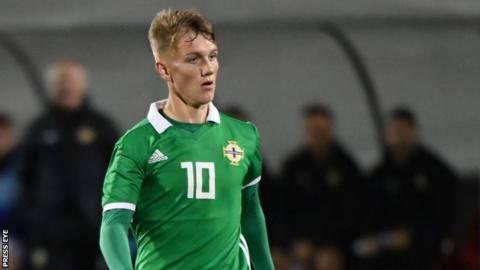 Galbraith in action for the Northern Ireland U19s in November 2018