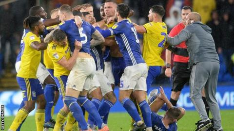 Cardiff and Birmingham players clashed in stoppage time at the Cardiff City Stadium