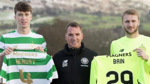 Celtic's Jack Hendry, Brendan Rodgers and Scott Bain