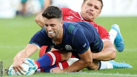Adam Hastings scored two early tries in a one-sided victory for Scotland