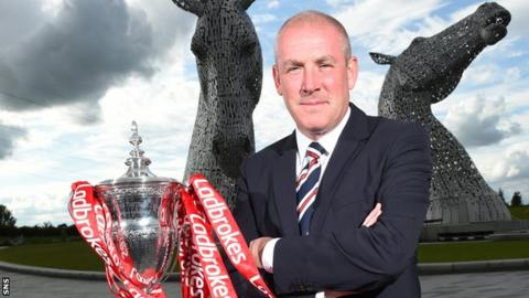 Mark Warburton poses with the Scottish Premiership trophy, with The Kelpies as a backdrop