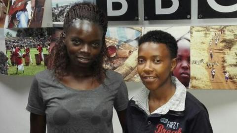 Kenya midfielder Christine Nafula with Kenya captain Mary Kinuthia
