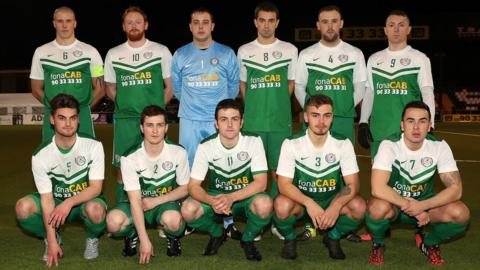 The Dundela team pictured before their 2-0 win over Glebe Rangers in the semi-final of the Steel and Sons Cup at Seaview