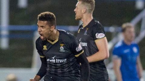 Nathan Austin celebrates his Inverness goal