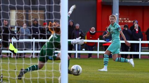 Arsenal's Vivianne Miedema scores against Bristol City