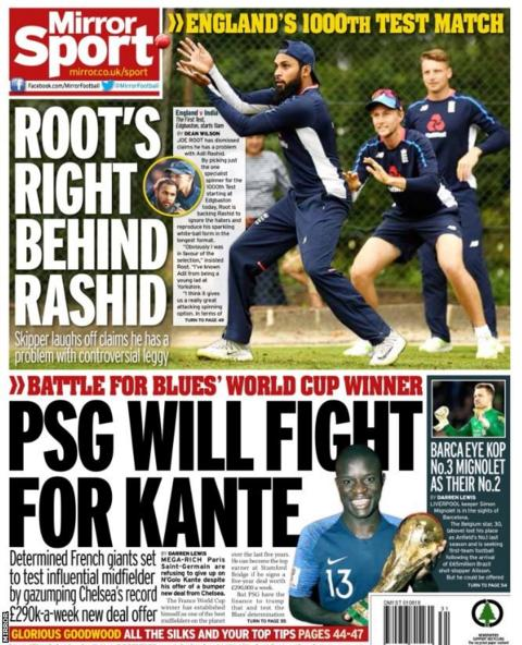 Picture of the Mirror back page on Wednesday