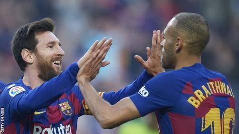 Lionel Messi and Martin Braithwaite