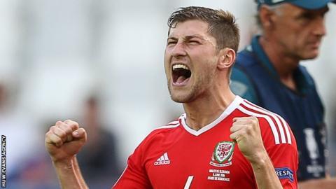 Ben Davies celebrates Wales' win over Slovakia at Euro 2016