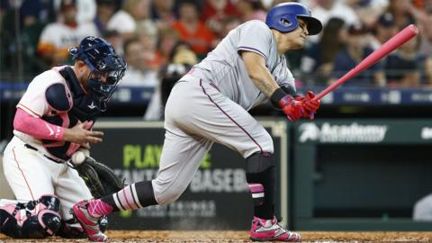 Houston, United States, 13 May: In the United States, Mother's Day is celebrated on the second Sunday in May. To commemorate this, Major League Baseball went pink, everything from bats to gloves, footwear and even compression tops, all in the name of breast-cancer awareness.