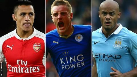 Alexis Sanchez, Jamie Vardy and Vincent Kompany