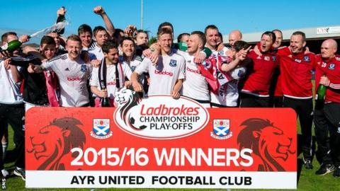 Ayr United celebrate promotion
