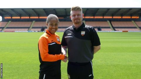 Rachel Yankey and London Bees head coach Luke Swindlehurst
