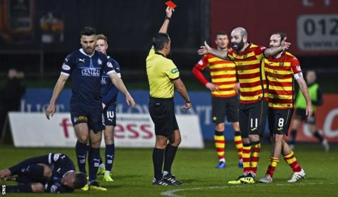 Gary Harkins was dismissed for a foul on Ross MacLean, having earlier been booked for a challenge on Abdul Osman