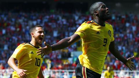 Belgium's Eden Hazard (left) and Romelu Lukaku