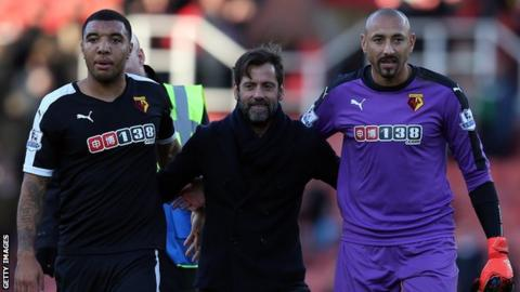 Quique Sanchez Flores with Troy Deeney and Heurelho Gomes