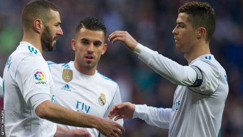 Karim Benzema and Cristiano Ronaldo of Real Madrid celebrate Benzema's goal