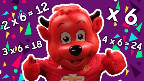 Fred the Red has his thumbs up and is smiling. Behind him are sums, 2 times 6 = 12, 3 times 6 = 18 and 4 times 6 = 24.