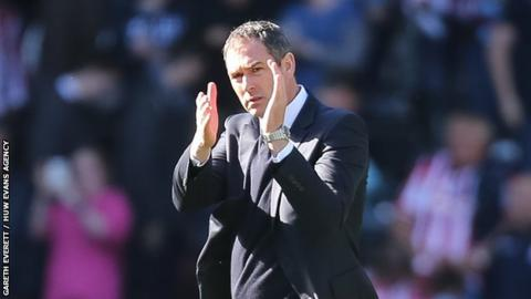 Paul Clement applauds the supporters after last season's 2-0 home win against Stoke City.