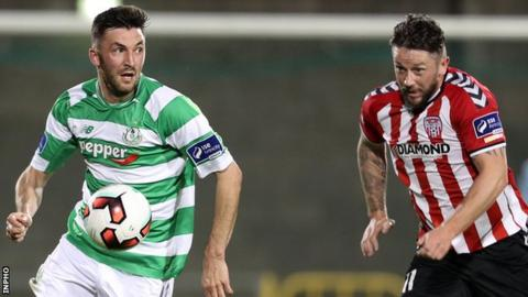 Derry's Rory Patterson is about to challenge Killian Brennan at Tallaght Stadium